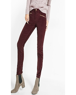 Express Womens Mid Rise Berry Corduroy Hip Zip Leggings