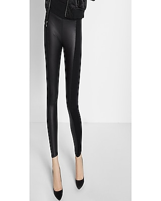 Express Womens Petite High Waisted Faux Leather Panel Leggings