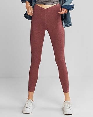 Express Womens Petite Mid Rise Supersoft Marled Leggings