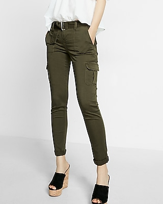 Express Womens Mid Rise Belted Cargo Cropped Trouser Pant