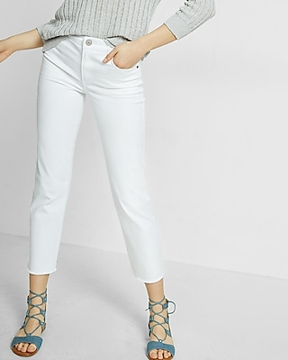 Express Womens High Waisted Raw Hem Straight Cropped Jeans White 00