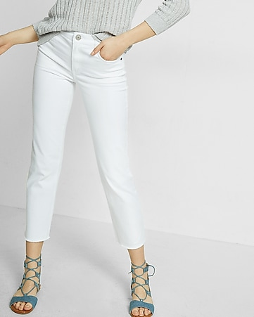 high waisted raw hem straight cropped jeans