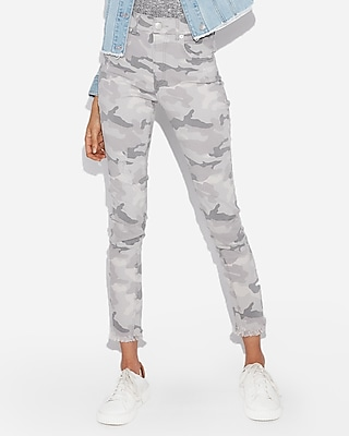 Express Womens High Waisted Camo Stretch Cropped Leggings