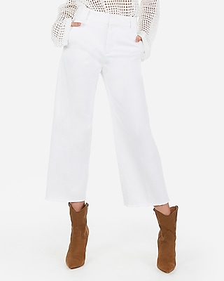 Express Womens Super High Waisted Cropped Wide Leg Pants