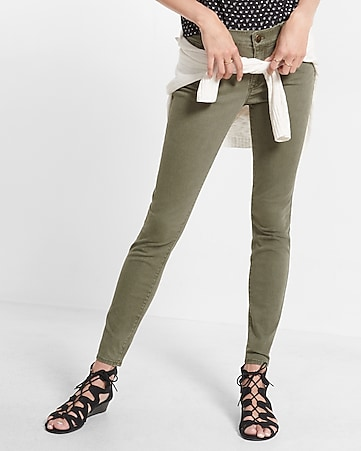 petite mid rise olive five pocket pant