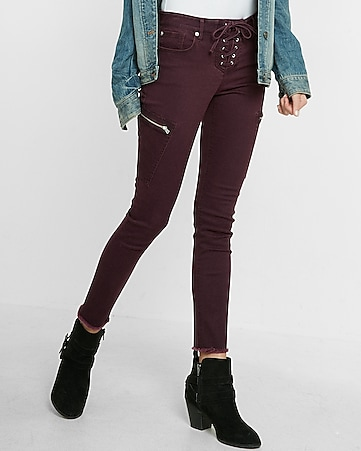 mid rise lace-up cargo ankle legging