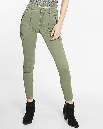 high waisted zip detail cargo ankle legging