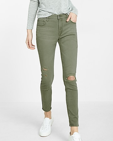 high waisted destroyed twill ankle legging