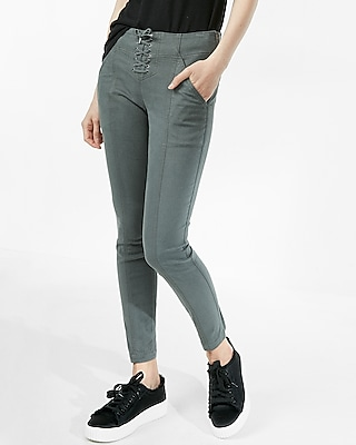 Express Womens High Waisted Lace-Up Front Pant