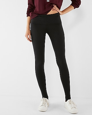 Express Womens Fold-Over Stirrup Supersoft Stretch Leggings