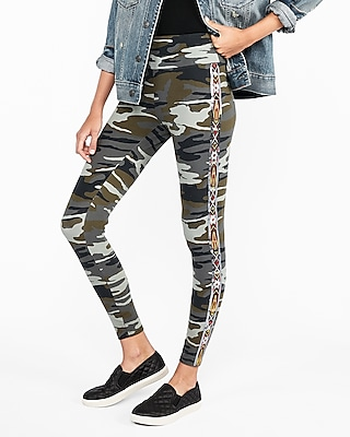 Express Womens High Waisted Embellished Camo Sexy Stretch Leggings