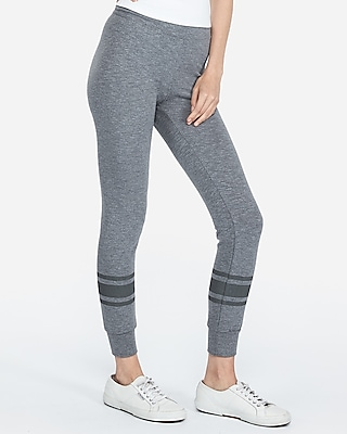 Express Womens High Waisted Striped Stretch Terry Leggings