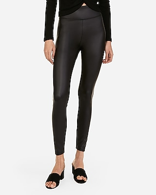 Express Womens Super High Waisted Faux Leather Ankle Leggings Black Women's L Black L