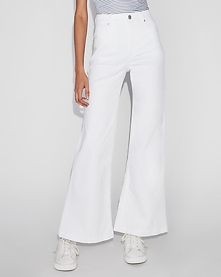 Express Womens Extreme High Waisted White Stretch Wide Leg Jeans