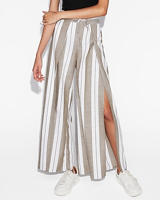 Express Womens High Waisted Striped Surplice Wide Leg Cotton Pant