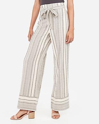 Express Womens High Waisted Striped Yarn Dye Wide Leg Pant Stripe Women's Xxs Stripe Xxs