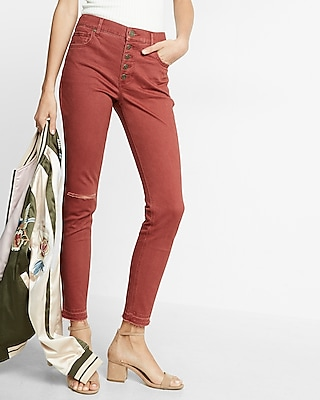 High Waisted Button Fly Stretch Ankle Legging