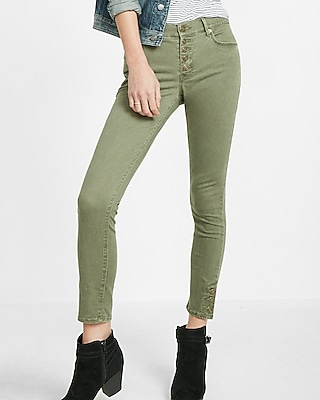 Express Womens Mid Rise Button Fly Ankle Legging Green 00