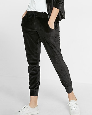 Express Womens Express One Eleven Velour Jogger Pant Black XX Small