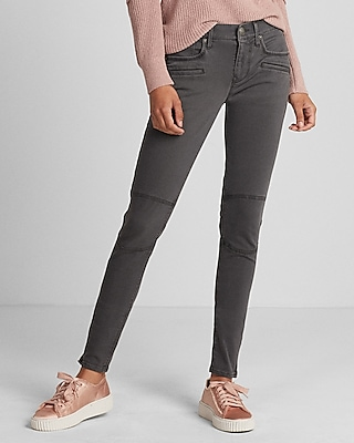 Express Womens  Mid Rise Moto Twill Ankle Leggings