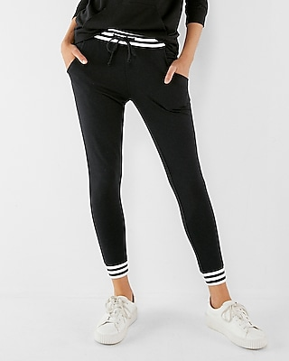 Express Womens Express One Eleven Low Rise Striped Trim Jogger Pant