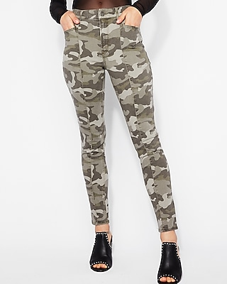Express Womens High Waisted Camo Stretch Ankle Leggings