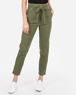 Express Womens Super High Waisted Paperbag Cotton Ankle Pants