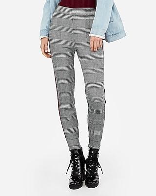 Express Womens High Waisted Plaid Side Stripe Jogger Pants