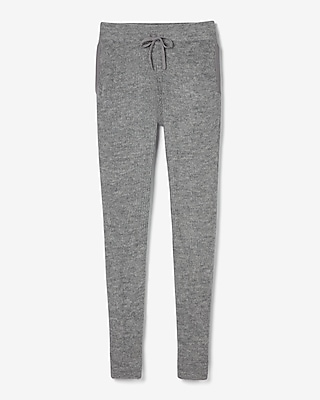 Express Womens Olivia Culpo High Waisted Ribbed Sweater Track Pant Gray Women's Xs Gray Xs