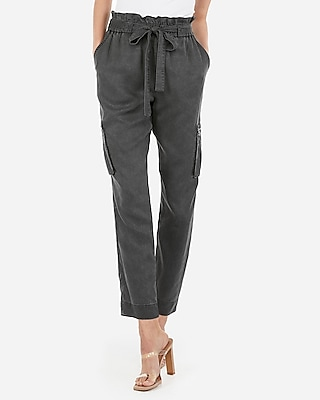 Express Womens High Waisted Paperbag Cargo Pant Gray Women's M Gray M