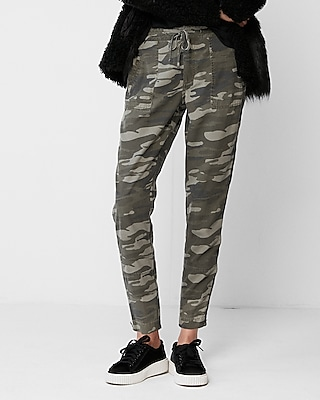 Express Womens High Waisted Camo Ankle Zip Utility Cargo Pant Green Women's 00 Green 00