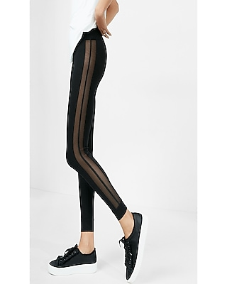 Express Womens High Waisted Side Mesh Legging