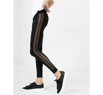 high waisted side mesh legging