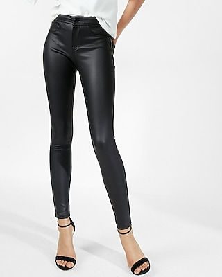 Express Womens Five Pocket Faux Leather Leggings