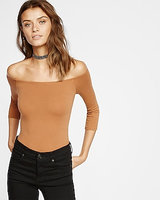 Express Womens Express Womens Express One Eleven Off The Shoulder Bodysuit Brown X Small