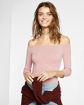 Express Womens Express Womens Express One Eleven Off The Shoulder Bodysuit Pink X Small
