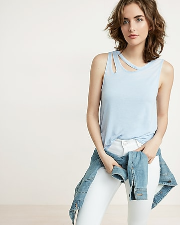 express one eleven slash neck tank