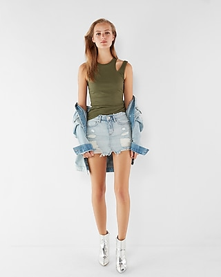 Express Womens Ribbed Slash Shoulder Tank