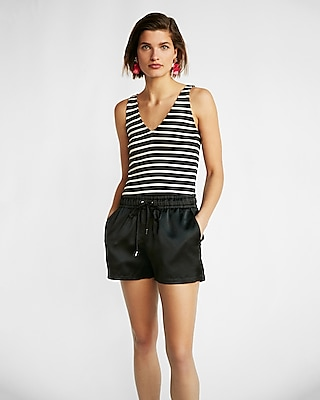 Express Womens Striped Ribbed V-Neck Tank