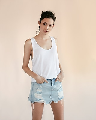 Express Womens Solid Scoop Neck Tank