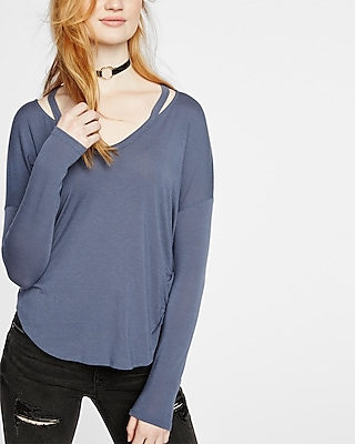 Express Womens Express Womens Express One Eleven Long Sleeve Slash Neck Tee Blue X Small