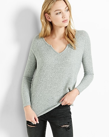 express one eleven ribbed notch neck top