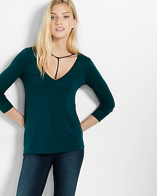 Express Womens Express One Eleven Long Sleeve Choker Tee Green X Small