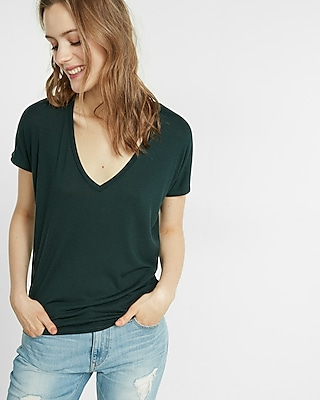 Express Womens Express One Eleven V-Neck London Tee Green XX Small