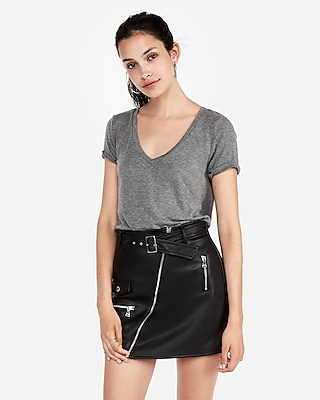 Express Womens Express One Eleven Heathered V-Neck Skimming Tee