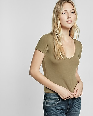 Express Womens Express One Eleven V-Neck Easy Tee Green XX Small