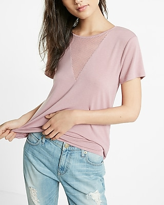 Express Womens Express One Eleven Mesh Deep V-Neck Tee Pink X Small