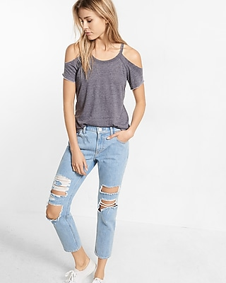 Raw Edge Cold Shoulder Tee