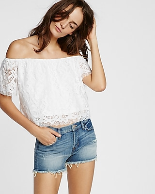Express Womens Lace Off The Shoulder Tee