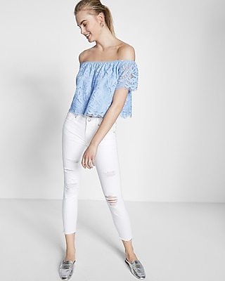 Express Womens Lace Off The Shoulder Tee Blue Small
